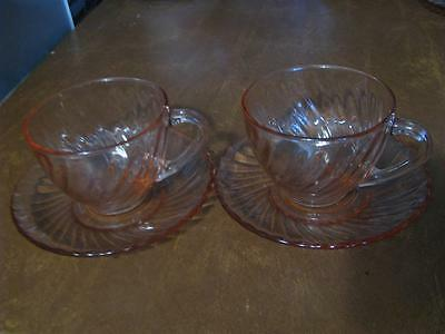 Two (2) Sets Arcoroc France Pink Swirl Glass Cups and Saucers