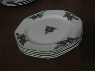 Wood & Sons Hexagon England 4 Bread Plates  Air Way Pattern 4 Piece