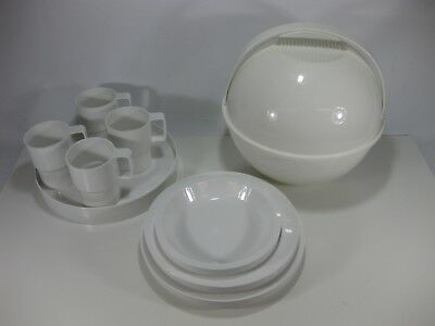 VIntage Mid Century Modern GUZZINI White Picnic Orb Ball Set Italy 70's Complete
