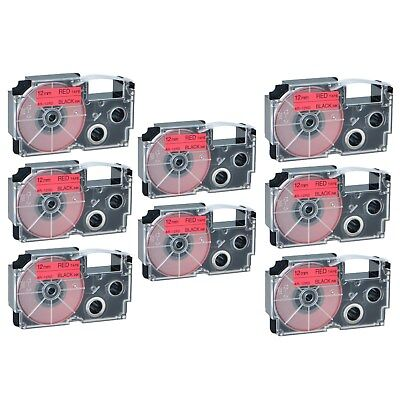 """8PK XR-12RD Black on Red Label Tape for Casio KL-60 100 7000 8200 8800 1/2"""""""