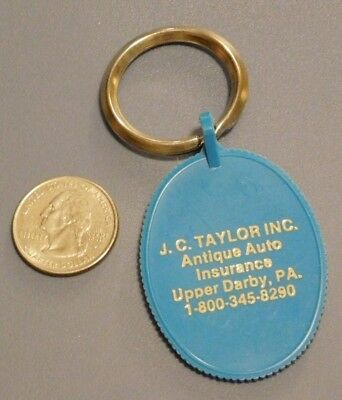 VINTAGE J.C. Taylor Antique Auto Insurance Key Chain/Key Ring - Upper Darby, P