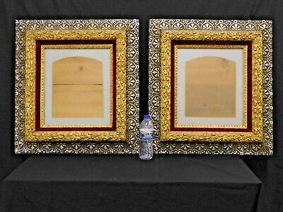ANTIQUE Pair Carved Victorian Gold & Silver Gilt Picture Frame Original Finish