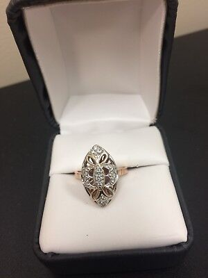 BEAUTIFUL Vintage ANTIQUE Art Deco 14k White & 14k Rose Gold ring size 6