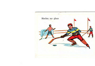 "Image Vignette Ancienne Cartonne "" Bon Point "" Le Sport Le Hockey Sur Glace"