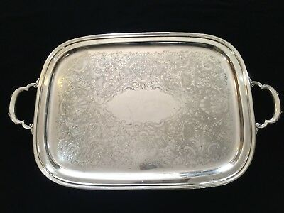 Vintage International Silver Plated Georgian Court Large & Heavy Serving Tray