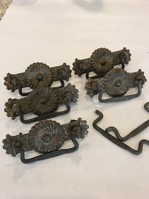 "Lot of 4 VINTAGE ANTIQUE PRESSED BRASS DRAWER PULLS  4.25"" Long / 3"" Holes"