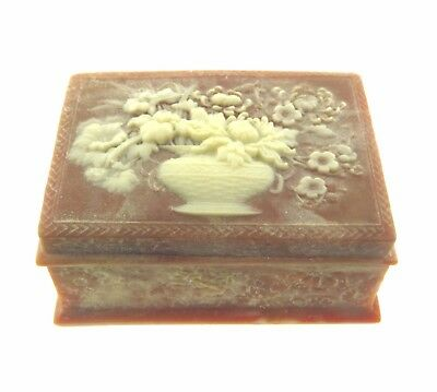 Vintage Genuine Carved Incolay Box 3x4x2