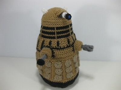 "Hand Made/Knitted Dr. Who Dalek Stuffie 9 1/2"" tall   One of a Kind"