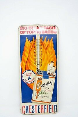 Vintage Chesterfield King Cigarettes Metal Thermometer Sign Tobacciana