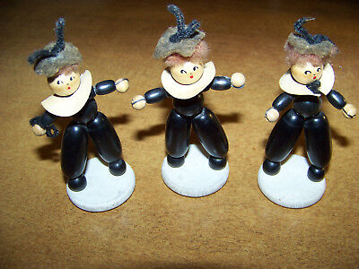 Lot Of (3) Vintage Wooden Bead Figures