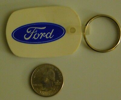 VINTAGE Ford - Brownlee's Antique Auto Parts - White Vinyl Key Chain / Key Ring