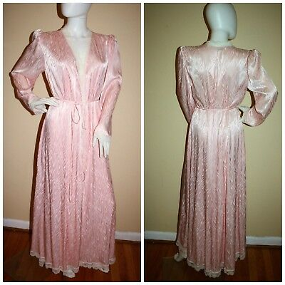 Vintage Lucie Ann Peignoir nightgown set robe gown Pink Damask Amazing! S M