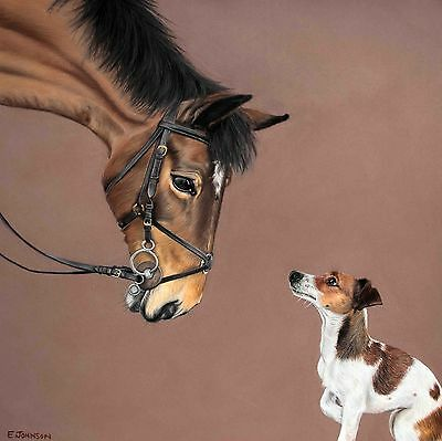 Horse and dog Limited Edition Giclée Artist Print / Jack Russell Terrier