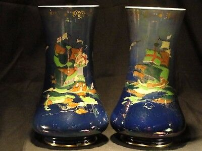 Pair of Crown Devon Fielding's Blue Lustrine c1930 Royal George Porcelain Vases
