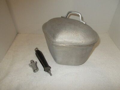 Vintage Retro Silver Seal Aluminum Cookware TRIANGLE Pan with Lid and Handle