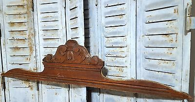 CARVED WOOD PEDIMENT ANTIQUE FRENCH COAT OF ARMS SALVAGED CARVING CREST 19th
