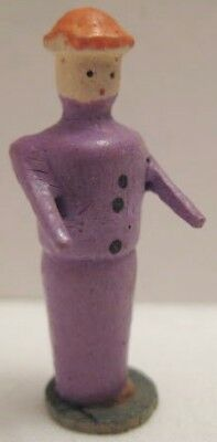 "Antique Wood Putz Christmas Scene Figure 1 1/4"" Purple Woman Germany 1920s"