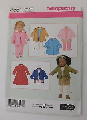 """Doll Clothes Sewing Pattern ~ Fits 18"""" Dolls ~ American Girl ~Simplicity 3551"""