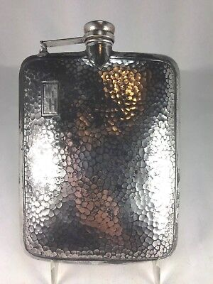 Antique Art Deco  Large Silver Plated Hip Flask By B & J