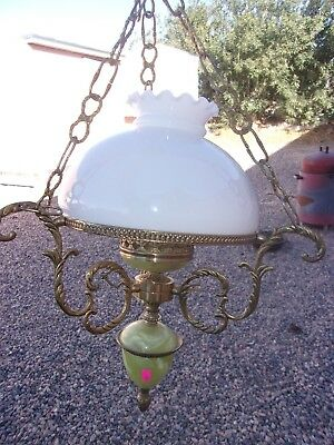 Vintage Milk Glass Hanging Oil Lamp Marbled Bakelite Chandelier Made In Spain