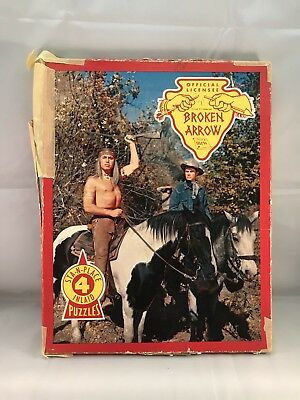BROKEN ARROW 1950's TV WESTERN BUILT-RITE BOXED SET OF 4 FRAME TRAY PUZZLES