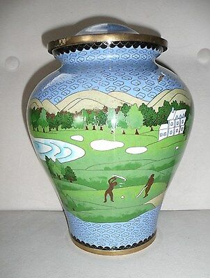 "Vintage Brass Embossed Decorative Metal Urn Vase Golf Scene 10"" x 7.5"""