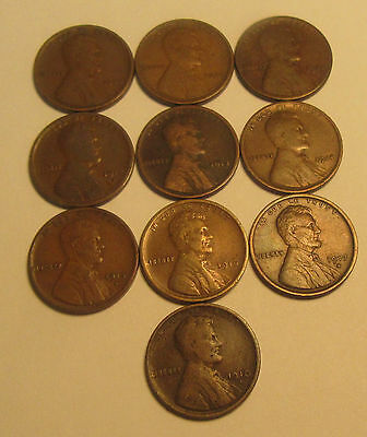 Lot of 10- Lincoln Wheat Cents Early Better Dates! * Old US Pennies