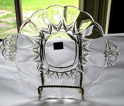 """Plate with Sticker New Martinsville Viking Clear Glass Janice 7"""" with Handleds"""
