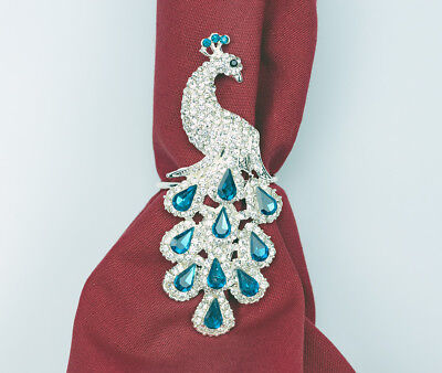 Peacock Napkin Rings Set of 4 Sparkling Napkin Holders Table Decorations Party