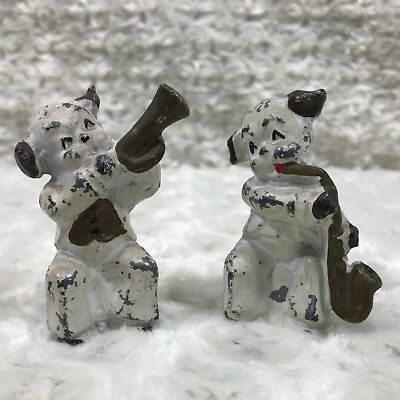 """Vintage 2pc Cast Metal Dog Musicians Band Members Hand Painted 2 1/2"""" Tall"""