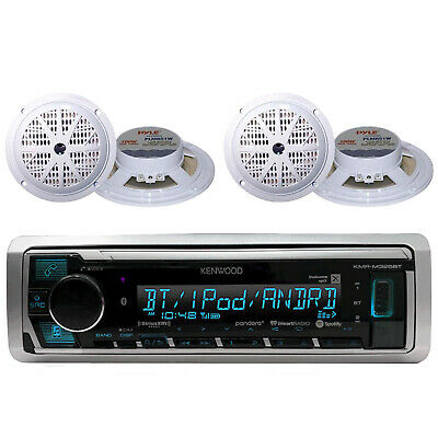 Marine Boat Yacht AM/FM USB AUX iPod Input Bluetooth Stereo w/4 White Speakers