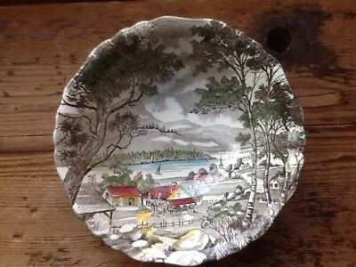 "Vintage J&G Meakin WELCOME HOME Fall Scene 8"" Serving Bowl Beautiful"