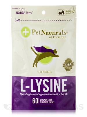 Pet Naturals of Vermont L-Lysine for Cats Chicken Liver - (2 Pack-60 Chewables)