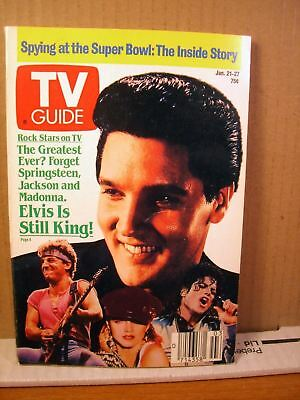 TV Guide January 21-27 1989 Elvis Presley id Still King, Spying at the Super Bow