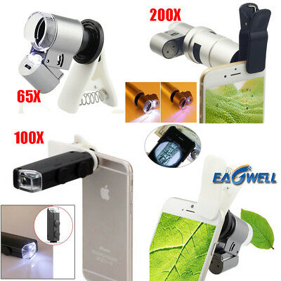 65X 100X 200X Zoom Clip-on HD Microscope Phone Camera Lens LED For Mobile Phones