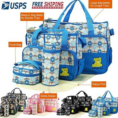 5pcs Multi-functional Mommy Mother Handbag Baby Changing Diaper Nappy Toy Bag