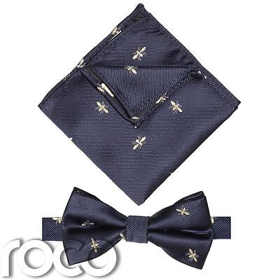 Boys Banded Dickie Bow and Pocket Square Set, boys Bee bow Tie & Hanky set