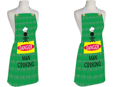 Danger Man Cooking Kitchen Apron Home And Kichen Use Cotton Chef'S Apron Green