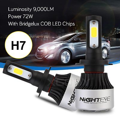 Nighteye 72W 9000LM H7 LED Phare de voiture Ampoule Headlight lampe 6500K Blanc