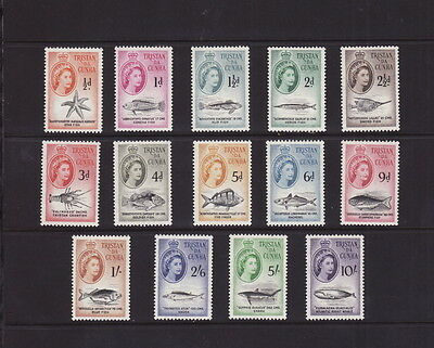 TRISTAN DA CUNHA 1960 MARINE LIFE COMPLETE 14 STAMPS SET to 10s MINT L Hinged
