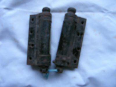Reclaimed One Pair Very Strong Spring Hinges 4 1/2 Inches Black Japaned Finish