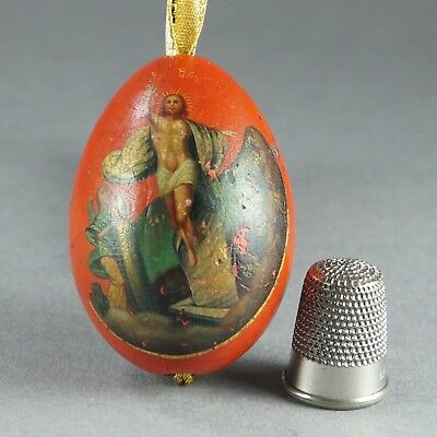 Late 19th Century Russian Easter Egg Hand Painted Lacquered Gilded The Ascension
