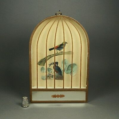 Antique 19th Century French Bird Cage Mirror Picture Kingfisher Napoleon III