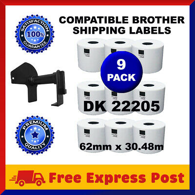 9 Rolls DK22205 Compatible Brother DK 22205 Continuous Shipping Labels Cartridge