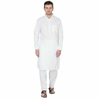 Men's Pathani Kurta Pajama Ethnic Suit Cotton Fabric Solid Traditional White