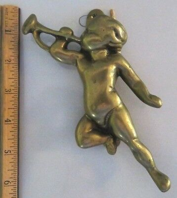 Antique Vtg Angel Cherub Playing Horn Instrument Figural Brass Xmas Door Knocker
