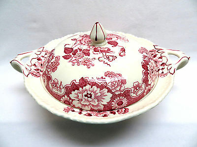 Antique Wood & Son England CAMBRIDGE Pink Red Transferware Covered Casserole