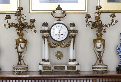 19Th Century French White Marble Gilt Metal Candelabra Clock Garniture S Marti