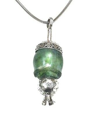 Roman Glass Ancient 200 B.C Sterling Silver 925 Antique Glass Pendent Holy Land.