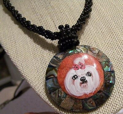 hand painted Maltese paua abalone, and mother of pearl beads necklace